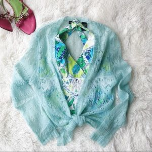 Moda International aqua open knit tie front cardi